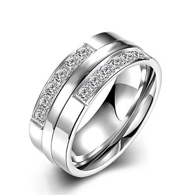 1299 Męskie Damskie Pierścionki Dla Par Pierscionek Pierścionek Zaręczynowy Modny Początkowa Biżuteria Stal Nierdzewna Cyrkon Biżuteria