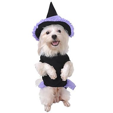 رخيصةأون ملابس وإكسسوارات الكلاب-قط كلب ازياء تنكرية المعاطف هوديس الشتاء ملابس الكلاب أسود كوستيوم تيريليني قطن الملاك والشيطان الكوسبلاي الدفء موضة S M L