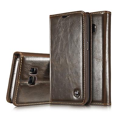 Недорогие Чехлы и кейсы для Galaxy Note Edge-Кейс для Назначение SSamsung Galaxy Note 5 Edge / Note 5 / Note 4 Кошелек / Бумажник для карт / со стендом Чехол Однотонный Настоящая кожа