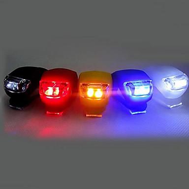 olcso Sport & túra-LED Kerékpár világítás Kerékpár első lámpa Kerékpár hátsó lámpa Szilikon kerékpár fény Hegyi biciklizés Kerékpár Kerékpározás Biztonság Csat Kis méret Zseb cellás akkumulátor AkkumulátorBattery