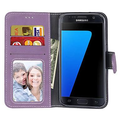 غطاء من أجل Samsung Galaxy S7 edge / S7 / S6 edge محفظة / حامل البطاقات / قلب غطاء كامل للجسم لون سادة قاسي جلد PU