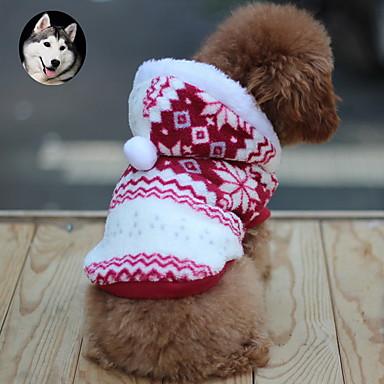 رخيصةأون ملابس وإكسسوارات الكلاب-قط كلب المعاطف هوديس الشتاء ملابس الكلاب متنفس بني أحمر أزرق كوستيوم قطن ندفة ثلجية الدفء موضة XS S M L XL