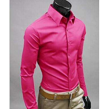 رخيصةأون قمصان رجالي-رجالي عمل الأعمال التجارية / أناقة الشارع قميص, لون سادة نحيل / كم طويل