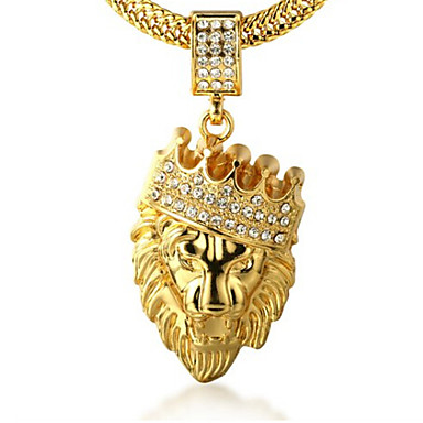 Mens crown lion animal personalized rock pendant necklace mens crown lion animal personalized rock pendant necklace rhinestone gold imitation diamond 18k gold alloy pendant necklace party gift 5451432 2018 mozeypictures Images