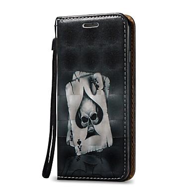 olcso iPhone 5 tokok-Case Kompatibilitás Apple iPhone 7 Plus / iPhone 7 / iPhone 6s Plus Kártyatartó / Állvánnyal / Flip Héjtok Koponya Kemény PU bőr