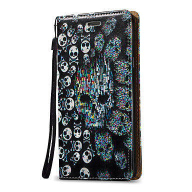 Недорогие Чехлы и кейсы для Galaxy Note 3-Кейс для Назначение SSamsung Galaxy Note 5 / Note 4 / Note 3 Кошелек / Бумажник для карт / Флип Чехол Черепа Твердый Кожа PU