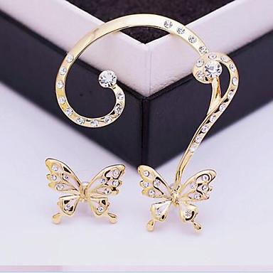 ieftine Cercei-Pentru femei Cercei cu Clip Cătușe pentru urechi Cercei cu spirală Fluture Animal femei Lux Ștras Diamante Artificiale cercei Bijuterii Curcubeu / Alb Pentru Petrecere Zilnic Casual