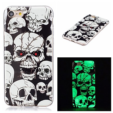 voordelige iPhone-hoesjes-hoesje Voor Apple iPhone X / iPhone 8 Plus / iPhone 8 Glow in the dark / IMD Achterkant Doodskoppen Zacht TPU