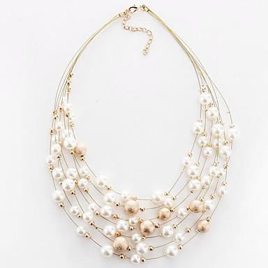 preiswerte Halsketten-Damen Halsketten Mehrlagig Schwimmend damas Europäisch Modisch Mehrlagig Perlen Künstliche Perle Aleación Weiß Golden Modische Halsketten Schmuck Für Party Alltag Normal