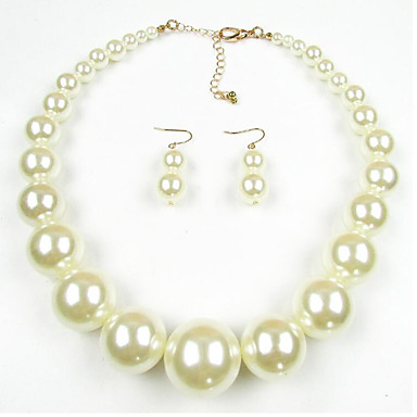 olcso többszínű gyöngykollekció-Női Gyöngy Ékszer készlet hölgyek Európai Gyöngy Gyöngyutánzat Fekete Gyöngy Fülbevaló Ékszerek Fekete / Fekete / Fehér / Fehér Kompatibilitás Napi