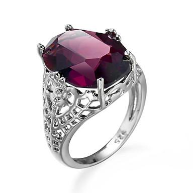 نسائي خاتم مكعب زركونيا جمشت حجر كريمة أحمر زركون مكعبات زركونيا سبيكة أوروبي أسلوب بسيط موضة زفاف خطوبة مجوهرات متصنع خاتم كوكتيل