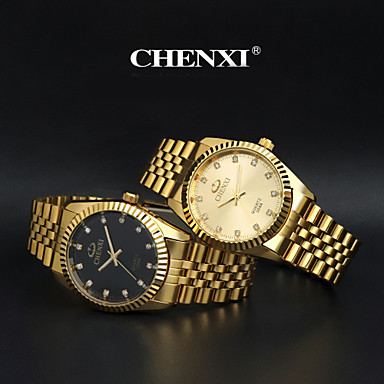 1546d6d6049 CHENXI® Homens Relógio Elegante Relógio de Pulso Relógio de Moda Quartzo  Quartzo Japonês imitação de diamante Aço Inoxidável Banda Dourada de  4279582 2019 ...