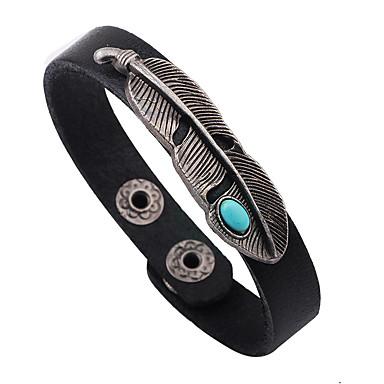 voordelige Heren Armband-Heren Turkoois Lederen armbanden Bladvorm Gepersonaliseerde Punk Rock Leder Armband sieraden Zwart / Rood / Lichtbruin Voor Dagelijks Causaal
