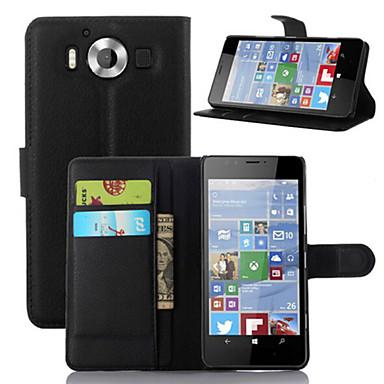 Недорогие Чехлы и кейсы для Nokia-Кейс для Назначение Nokia Lumia 520 / Nokia Lumia 630 / Nokia Lumia 950 Кошелек / Бумажник для карт / со стендом Чехол Однотонный Твердый Кожа PU