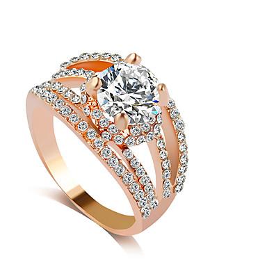 رخيصةأون خواتم-نسائي خاتم ذهبي فضي حجر الراين تقليد الماس سبيكة ترف زفاف مناسب للحفلات مجوهرات