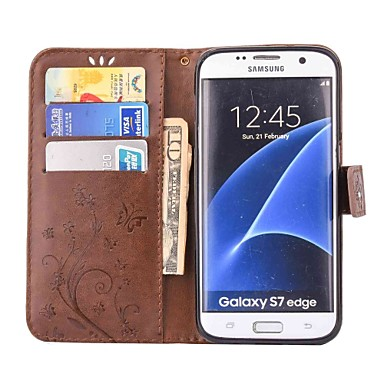 Недорогие Чехлы и кейсы для Galaxy A3-Кейс для Назначение SSamsung Galaxy A5(2016) / A3(2016) / A5 Кошелек / Бумажник для карт / Стразы Чехол Бабочка Твердый Кожа PU