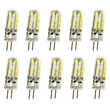 abordables Ampoules LED-10pcs 1 W LED à Double Broches 120 lm G4 T 24LED Perles LED SMD 3014 Décorative Blanc Chaud Blanc Froid 12 V / 10 pièces / RoHs