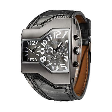 Недорогие Часы на кожаном ремешке-Муж. Модные часы Армейские часы Наручные часы Кварцевый На каждый день С двумя часовыми поясами Аналоговый Черный / Серебристый Белый Черный / Натуральная кожа / Натуральная кожа