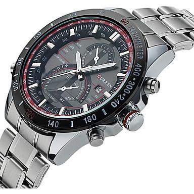 Недорогие Часы на металлическом ремешке-CURREN Муж. Спортивные часы Модные часы Нарядные часы Кварцевый Роскошь Защита от влаги Аналого-цифровые Белый Черный / Два года / Календарь / Светящийся / Два года