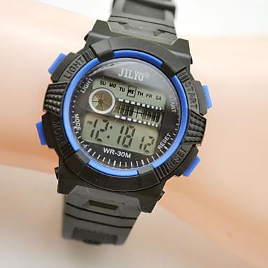 Недорогие Часы на кожаном ремешке-Спортивные часы электронные часы Кварцевый Цифровой Календарь Цифровой Желтый Красный Синий / Кожа / Фосфоресцирующий