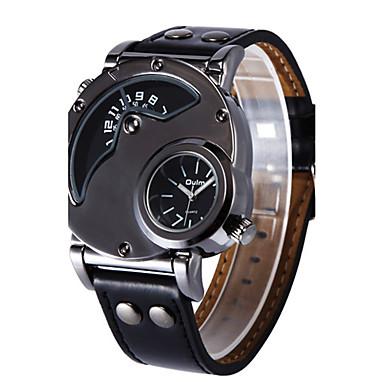 Недорогие Часы на кожаном ремешке-Муж. Спортивные часы Модные часы Армейские часы Кварцевый На каждый день С двумя часовыми поясами Аналоговый Белый Черный Кофейный / Натуральная кожа / Натуральная кожа / Steampunk