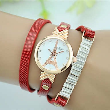 0b1e6989785 Mulheres Bracele Relógio Quartzo Couro Material da Banda Preta   Branco    Vermelho imitação de diamante Analógico senhoras Torre Eiffel Relógio  simulado de ...