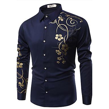 رخيصةأون قمصان رجالي-رجالي عتيق طباعة قميص, ورد ياقة كلاسيكية نحيل / كم طويل / الربيع / الخريف