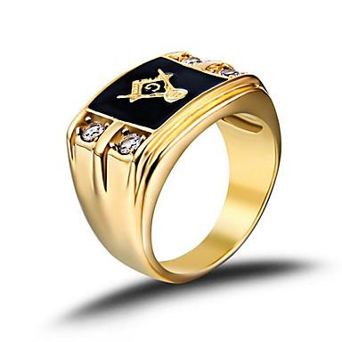 povoljno Prstenje-Muškarci Band Ring Pečatni prsten Masonski prstenovi Zlatan Tikovina Umjetno drago kamenje Pozlaćeni Moda Birthstones Vojska Božićni pokloni Vjenčanje Jewelry mason obiteljski grb
