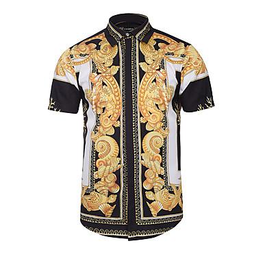 hesapli Erkek modası-Erkek Klasik Yaka İnce - Gömlek Desen, Kabile Vintage / Boho Siyah / Kısa Kollu / Yaz