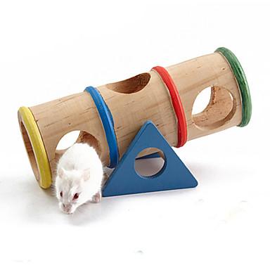abordables Accesorios para Animales Pequeños-Roedores Ratón Hámster Jaulas Juguetes Madera Azul Rojo