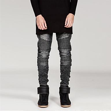 Herr Punk   Gotiskt Bomull Smal Rak   Jeans Byxor - Enfärgad Blå   Helgen 45d76a2a5a013