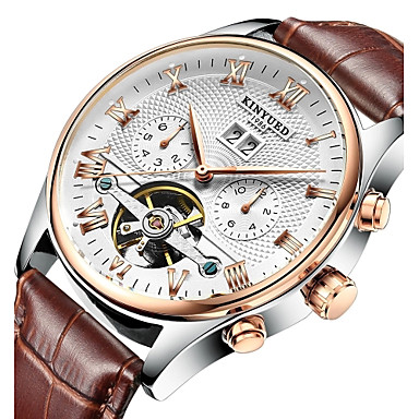 cheap Mechanical Watches-KINYUED Men's Skeleton Watch Wrist Watch Mechanical Watch Japanese Automatic self-winding Leather Black / Brown 30 m Water Resistant / Waterproof Calendar / date / day Chronograph Analog Luxury