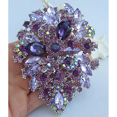 cheap Brooches-Crystal Brooches Vintage Party Casual everyday Crystal Rhinestone Brooch Jewelry Purple For Wedding Party Special Occasion Anniversary Birthday Engagement