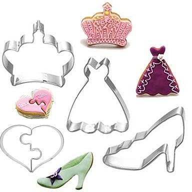 رخيصةأون أدوات الفرن-4 قطع الفولاذ المقاوم للصدأ الملكة سلسلة قطع الكعكة فندان قوالب السكر لصق الكعكة