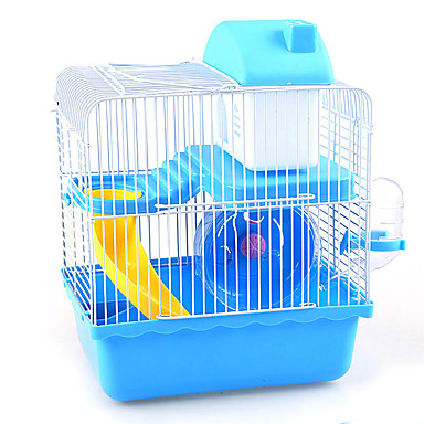 cheap Small Animals Accessories-Rodents Plastic / Metal Multi-function Cages Coffee / Blue / Pink
