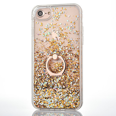 voordelige iPhone 8 hoesjes-hoesje Voor iPhone 7 / iPhone 7 Plus / Apple iPhone 8 Plus / iPhone 8 / iPhone 7 Plus Stromende vloeistof / Ringhouder Achterkant Glitterglans Hard PC