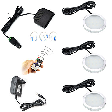 رخيصةأون أضواء الخزن LED-ONDENN 600 lm 12 الخرز LED يعمل بالريموت كنترول سمك رفيع تخفيت أضواء تحت مقصورة أبيض دافئ أبيض كول 85-265 V خزانة سقف درج / 3 قطع / جهاز تحكم / ديكور / بنفايات / CE