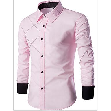 رخيصةأون قمصان رجالي-رجالي عمل الأعمال التجارية / كاجوال قياس كبير قميص, لون سادة ياقة كلاسيكية نحيل / كم طويل / الربيع / الخريف