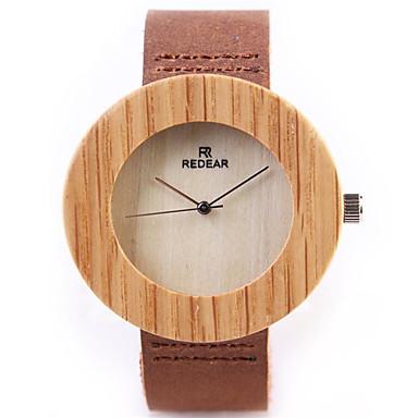 Недорогие Часы на кожаном ремешке-Муж. Жен. Модные часы Уникальный творческий часы Часы Дерево Кварцевый На каждый день / Аналоговый Коричневый / Кожа