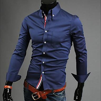 رخيصةأون قمصان رجالي-رجالي عمل الأعمال التجارية أساسي قياس كبير قميص, لون سادة ياقة مع زر سفلي / كم طويل / الربيع / الخريف