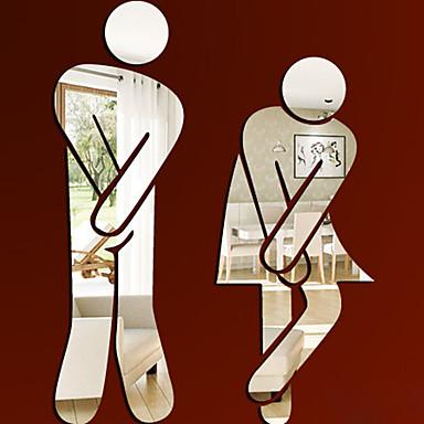 ملصقات الحائط 3d مرآة جديدة مؤهلين امرأة رجل wc ملصق للإزالة ديكور الأسرة لطيف ديي