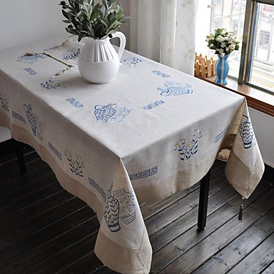 Linen Rectangular Table Cloth Floral Eco Friendly Table Decorations