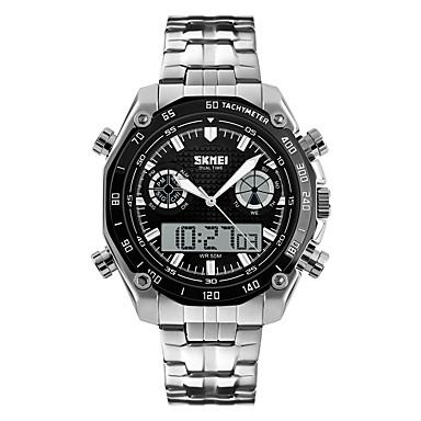 Недорогие Часы на металлическом ремешке-Муж. Спортивные часы Наручные часы электронные часы Цифровой Японский кварц Защита от влаги Нержавеющая сталь Серебристый металл Аналого-цифровые - Черный / Серебристый Белый / Серебристый Синий