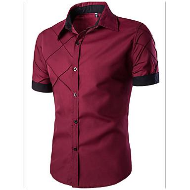 رخيصةأون قمصان رجالي-رجالي أساسي قميص, لون سادة ياقة مفرودة نحيل / كم قصير / الصيف