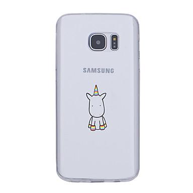 Недорогие Чехлы и кейсы для Galaxy S6 Edge-Кейс для Назначение SSamsung Galaxy S7 edge / S7 / S6 edge plus Ультратонкий / С узором Кейс на заднюю панель единорогом Мягкий ТПУ