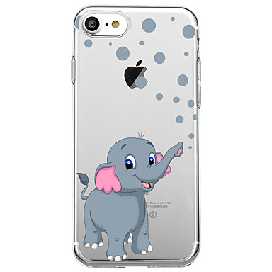 voordelige iPhone-hoesjes-hoesje Voor Apple iPhone X / iPhone 8 Plus / iPhone 8 Ultradun / Transparant / Patroon Achterkant dier / Olifant Zacht Kumi