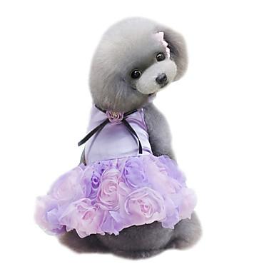 povoljno Odjeća za psa i dodaci-Pas Haljine Odjeća za psa purpurna boja Pink Sive boje Kostim Šifon Cvijet Vjenčanje Moda XS S M L XL
