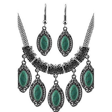 رخيصةأون أطقم المجوهرات-فيروز مجموعة مجوهرات أساسي الأقراط مجوهرات أخضر من أجل مناسب للبس اليومي