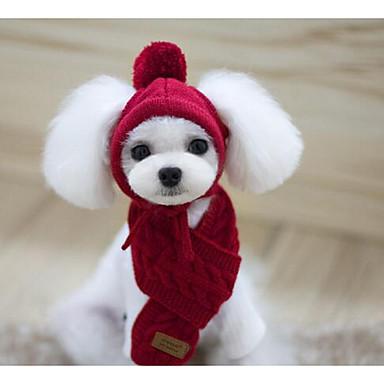 رخيصةأون ملابس وإكسسوارات الكلاب-كلب قبعات و شرايط شعر الكلب، وشاح الشتاء ملابس الكلاب أحمر أزرق داكن رمادي كوستيوم قطن لون سادة الدفء S M