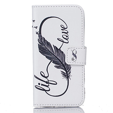 voordelige Galaxy S6 Edge Hoesjes / covers-hoesje Voor Samsung Galaxy S7 edge / S7 / S6 edge plus Portemonnee / Kaarthouder / Patroon Volledig hoesje Veren Hard PU-nahka